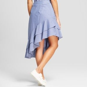 A NEW DAY Asymmetrical Blue Stripe Ruffle Skirt